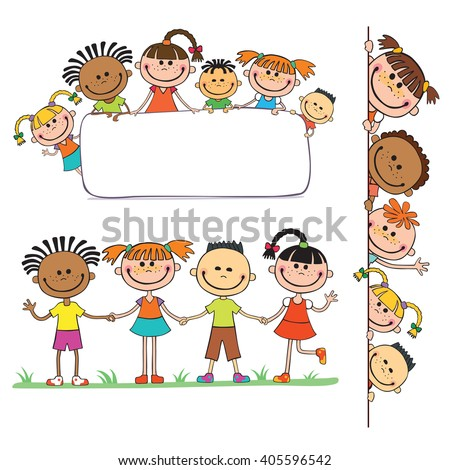 illustration of kids peeping behind placard children together  - stock photo