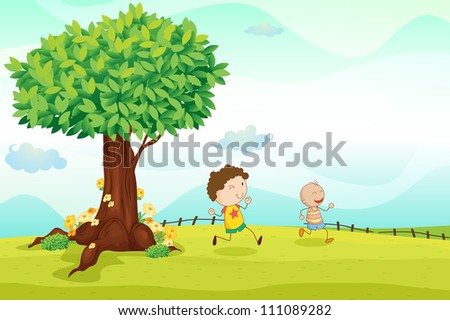 illustration of kids playing football in a nature