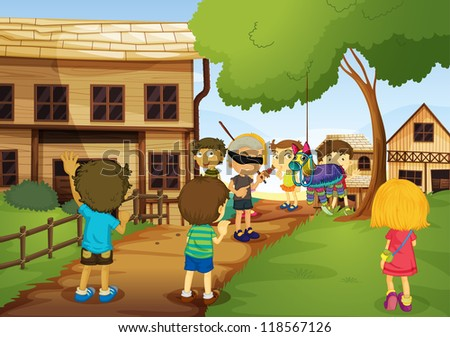 illustration of kids playing games in nature - stock photo