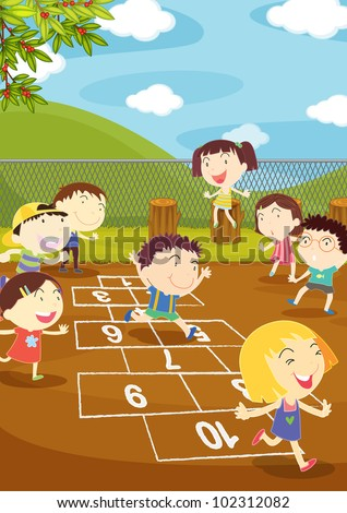 Illustration of kids playing hopscotch in a playground - EPS VECTOR format also available in my portfolio. - stock photo
