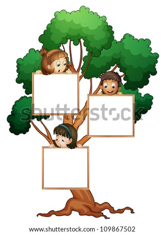 illustration of kids with whiteboard on the tree - stock photo