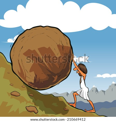 Illustration of king Sisyphus rolling a boulder up the hill.  - stock photo