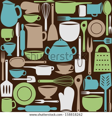 Illustration of kitchen dishes and utensils, seamless pattern - stock photo