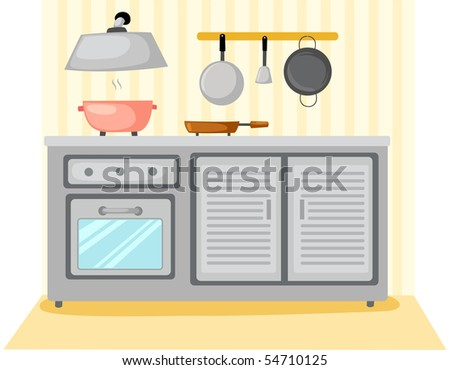 illustration of kitchen room furniture