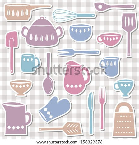 Illustration of kitchen utensils and cutlery, sticker style - stock photo