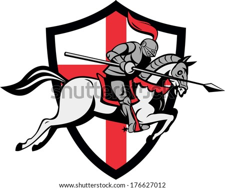 Illustration of knight in full armor riding a horse armed with lance and England English flag in background done in retro style. - stock photo