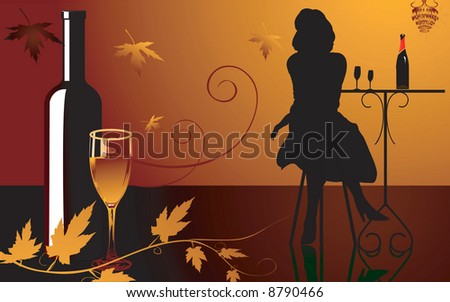 Illustration  of lady sitting alone near a table in floral background - stock photo
