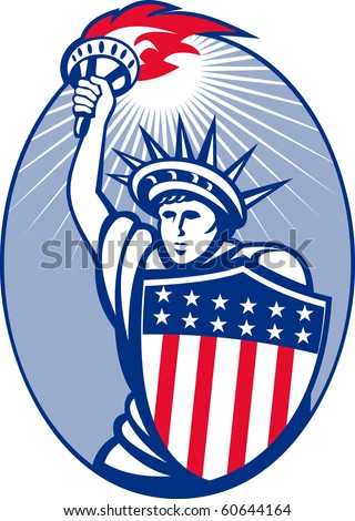 illustration of lady statue of liberty with torch and shield set inside oval.