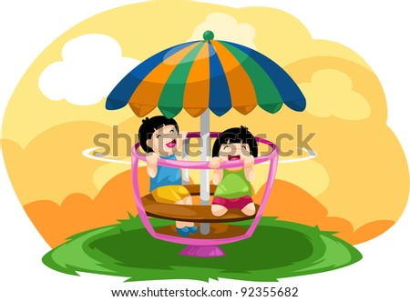 illustration of landscape kids playing merry go round - stock photo