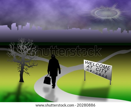 illustration of landscape polluted metropolis with tree and human figure - stock photo