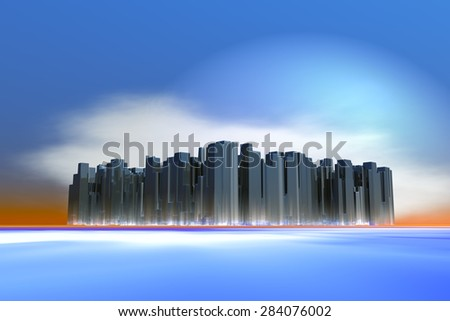 illustration of landscape with concept of a metropolis with a surreal aspect - stock photo