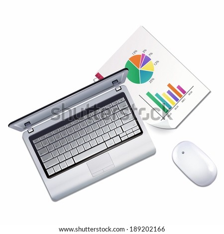 Illustration of laptop, mouse and graph