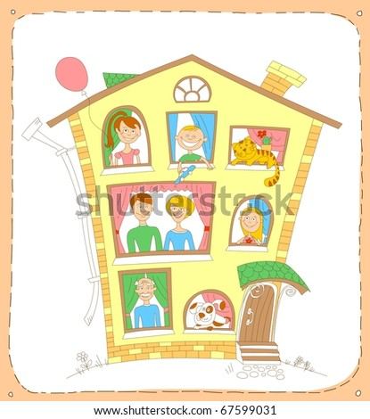 Illustration of large family in the house. Father, mother, three children, grandfather and their pets look out the windows. - stock photo