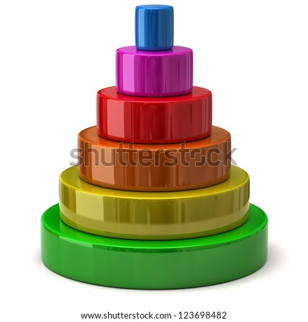 Illustration of layered colorful pyramid - stock photo