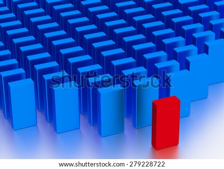 Illustration of leader leads the team forward. Red and blue blocks - stock photo