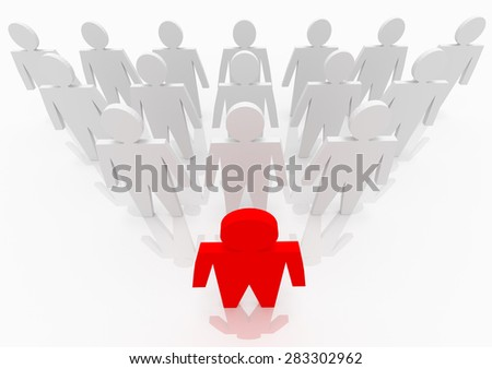 Illustration of leader leads the team forward. Red and white people - stock photo