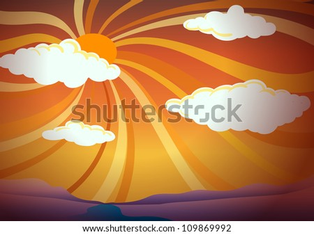 illustration of light rays in the sky