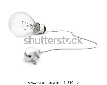 Illustration of lightbulb with disconnected power cord isolated on white background - stock photo
