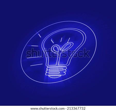Illustration of lightbulb with word IDEA inside. Inspiration  - stock photo