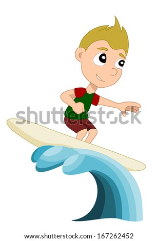 Illustration of little child surfer surfing a big wave, isolated on a white background