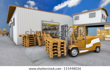 Illustration of loader with pallet on warehouse background - stock photo