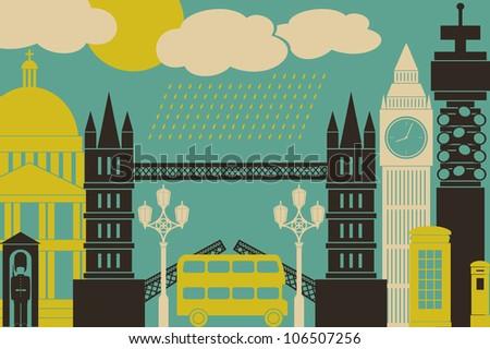 Illustration of London symbols and landmarks. - stock photo