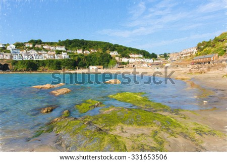 Illustration of Looe beach Cornwall England as oil painting with blue sea on a sunny summer day