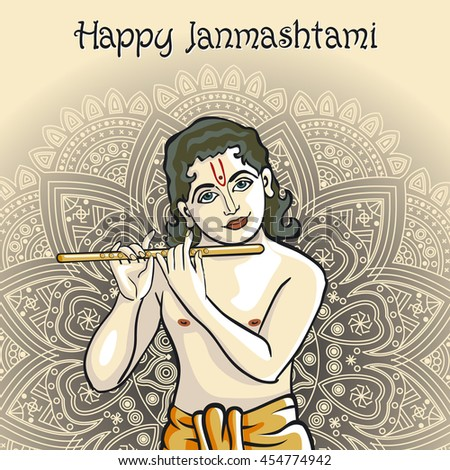 illustration of Lord Krishana in Happy Janmashtami art