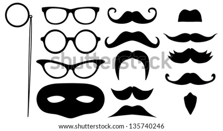 Illustration of lots of face disguises - stock photo