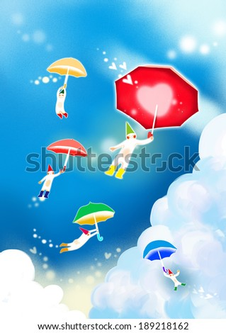 Illustration of love and fairies flying with umbrellas