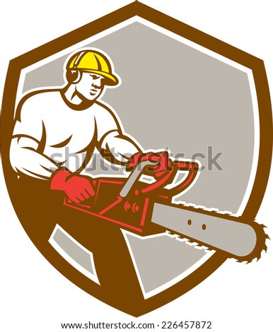 Illustration of lumberjack arborist tree surgeon holding a chainsaw set inside shield crest on isolated background done in retro style.  - stock photo