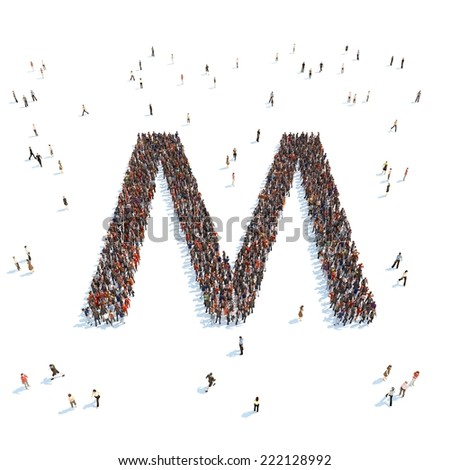 illustration of M letter with people - stock photo