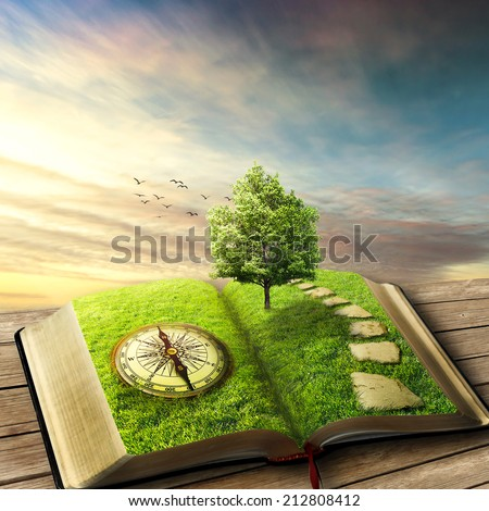 Illustration of magic opened book covered with grass, compass, tree and stoned way on woody floor, balcony. Fantasy world, imaginary view. Book, tree of life, right way concept. Original screensaver.  - stock photo
