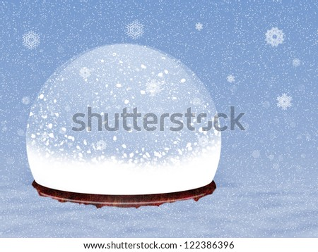 Illustration of magical snow globe on snow background.