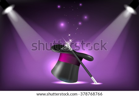 Illustration of magicians hat and wand on stage lighting reflectors - stock photo