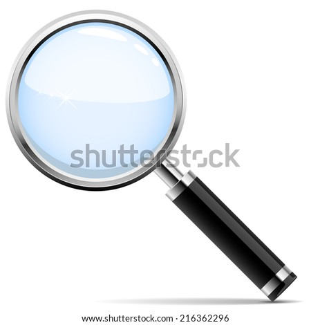 Illustration of magnifying glass isolated on white background.