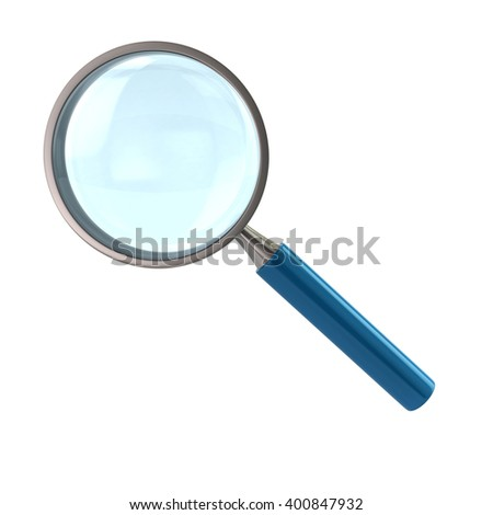 Illustration of magnifying glass with blue handle isolated on white background