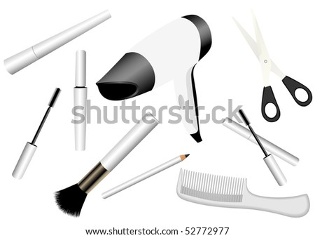 Illustration of make-up accessories isolated on white - stock photo