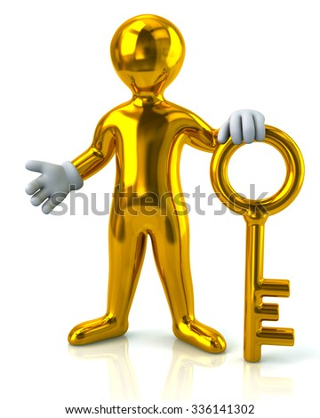 Illustration of man and gold key