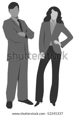 Illustration of man and woman silhouettes. Vector version is available. - stock photo