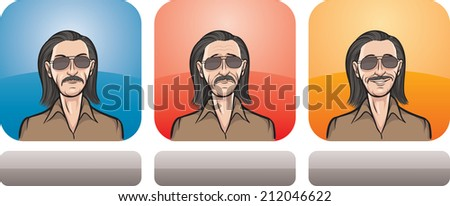 illustration of man in sunglasses face in three expressions: neutral, sad and happy