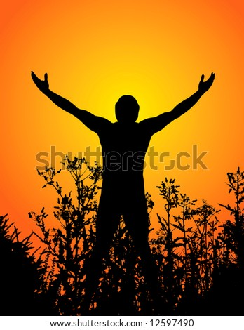 illustration of man's silhouette with stretched hands, standing in high grass during sunset time. Space for text available.