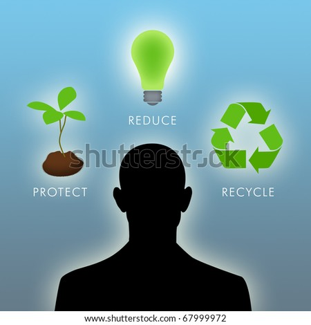 Illustration of man thinking of environmental things.