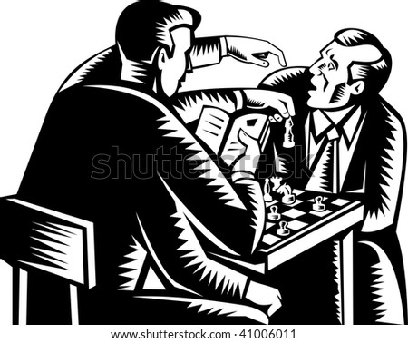 illustration of man with four arms playing chess.