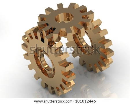 Illustration of mechanism of the three gold gears on a white background - stock photo