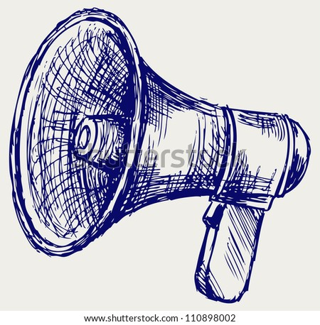 Illustration of megaphone. Doodle style - stock photo