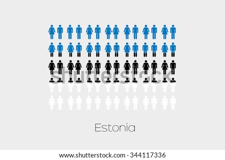 Illustration of Men and Women with the Flag of Estonia - stock photo