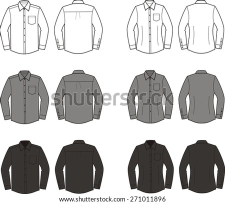 Illustration of men's and women's business shirts. Front and back views. Different colors: white, grey, black. Raster version - stock photo