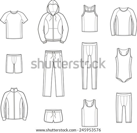 Illustration of men's sport clothes. Raster version - stock photo