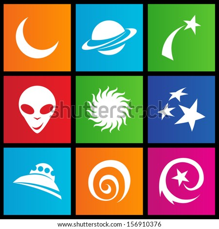 illustration of metro style space icons
